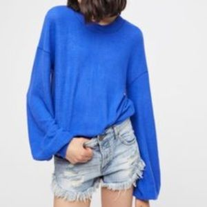 UO Free People Beach TGIF Cobalt Blue Pullover